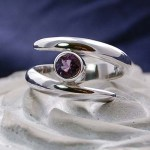 'Twist of Fate' Sterling Silver Ring set with Amethyst gemstone