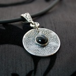 'Celtic Talisman' Silver Pendant with Black Onyx Cabochon
