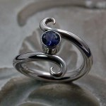 'Symmetry' Sterling Silver Ring with Iolite gemstone