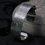 Mosaic of Fossils Sterling Silver Cuff Bangle