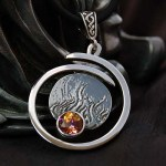 'Salamander, Spirit of Fire' Sterling Silver Pendant with Twilight Topaz