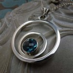 'Embrace' Sterling Silver necklace with Teal Blue Topaz