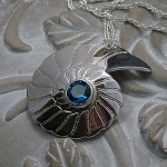 'Fossils in Silver' Large Pendant set with London Blue Topaz