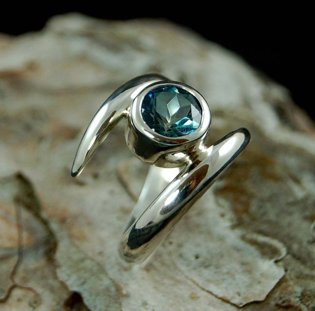 Sterling silver twist ring with Rainbow Topaz gemstone