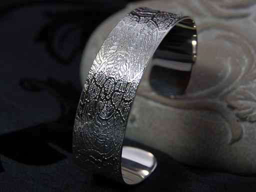 Mosaic of Fossils in Silver Cuff Bangle