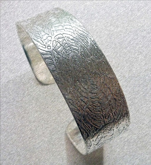 'Fossils in Silver' Cuff Bangle