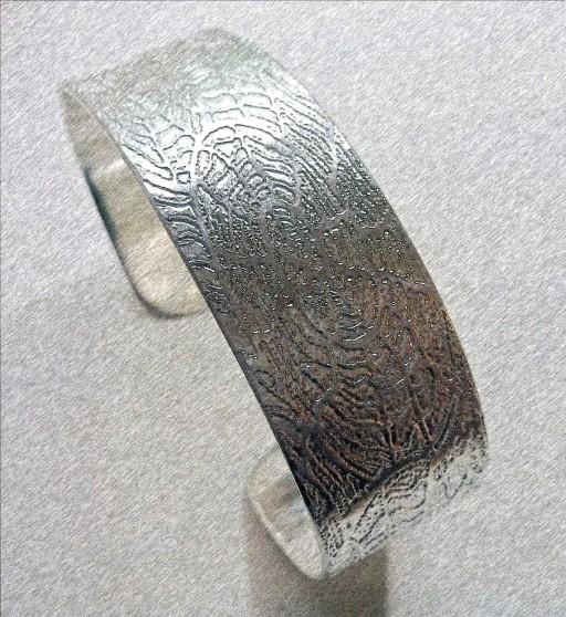 'Fossils in Silver' Cuff Bangle