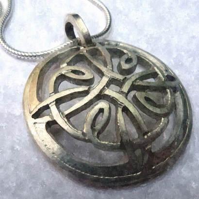 Celtic Knotwork Pendant, hand-pierced from Sterling Silver - work in progress