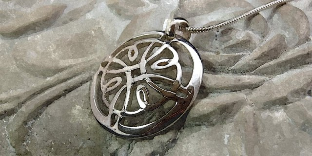Sterling Silver Celtic Cross design hand-cut Pendant