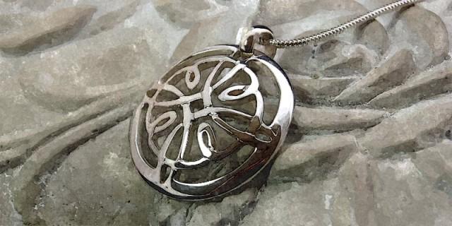 Sterling Silver Celtic Cross design hand-cut Pendant
