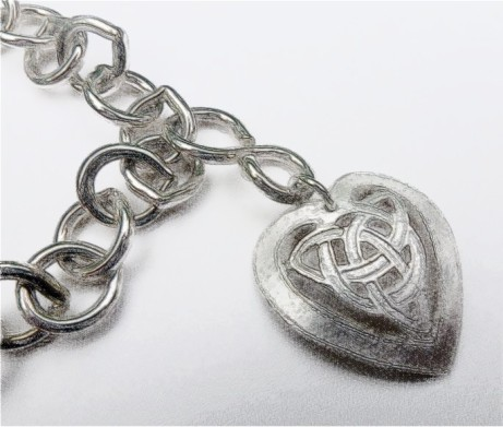 Silver Heart Charm attached by figure of eight link to bracelet