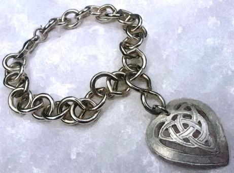 Solid Sterling Silver Celtic Knot Heart Charm Bracelet