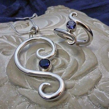 'Symmetry' Collection - Iolite Pendant and Ring