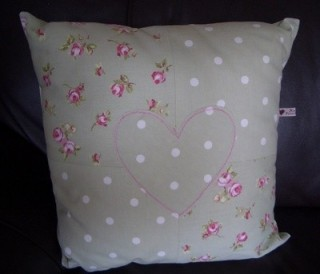 Dotty Sage and Rosebud Applique Cushion